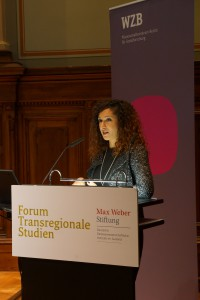"Hania Sobhy auf der Konferenz ""Inequality, Education and Social Power: Transregional Perspectives"" des Forums Transregionale Studien und der Max Weber Stiftung am 24. November 2014 in Berlin."